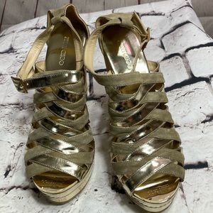 40 JIMMY CHOO GOLD PATENT AND SUEDE CORK WEDGE NEW